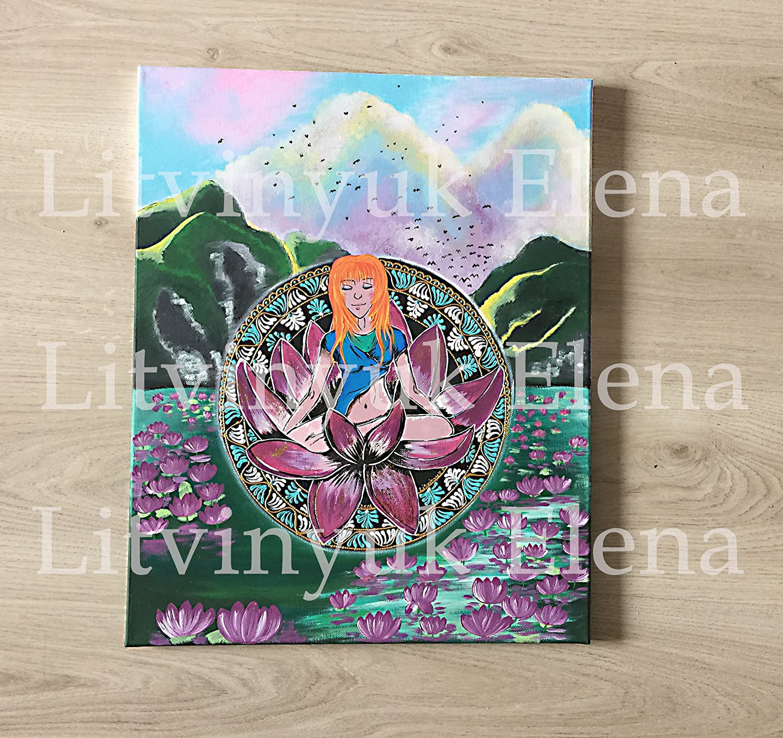 Amazon.com: yoga art, original art, yoga wall art, mandala ...