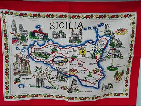 Lavello Potenza Cartina Geografica.Strofinaccio Sicilia Con Cartina Geografica Strofinacci Casa E Cucina