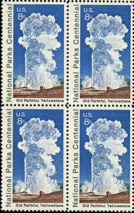 Amazon Com Us Postage Stamps 1972 National Parks Centennial Old Faithful Yellowstone S 1453 Plate Block Of 4 8 Cent Stamps Toys Games