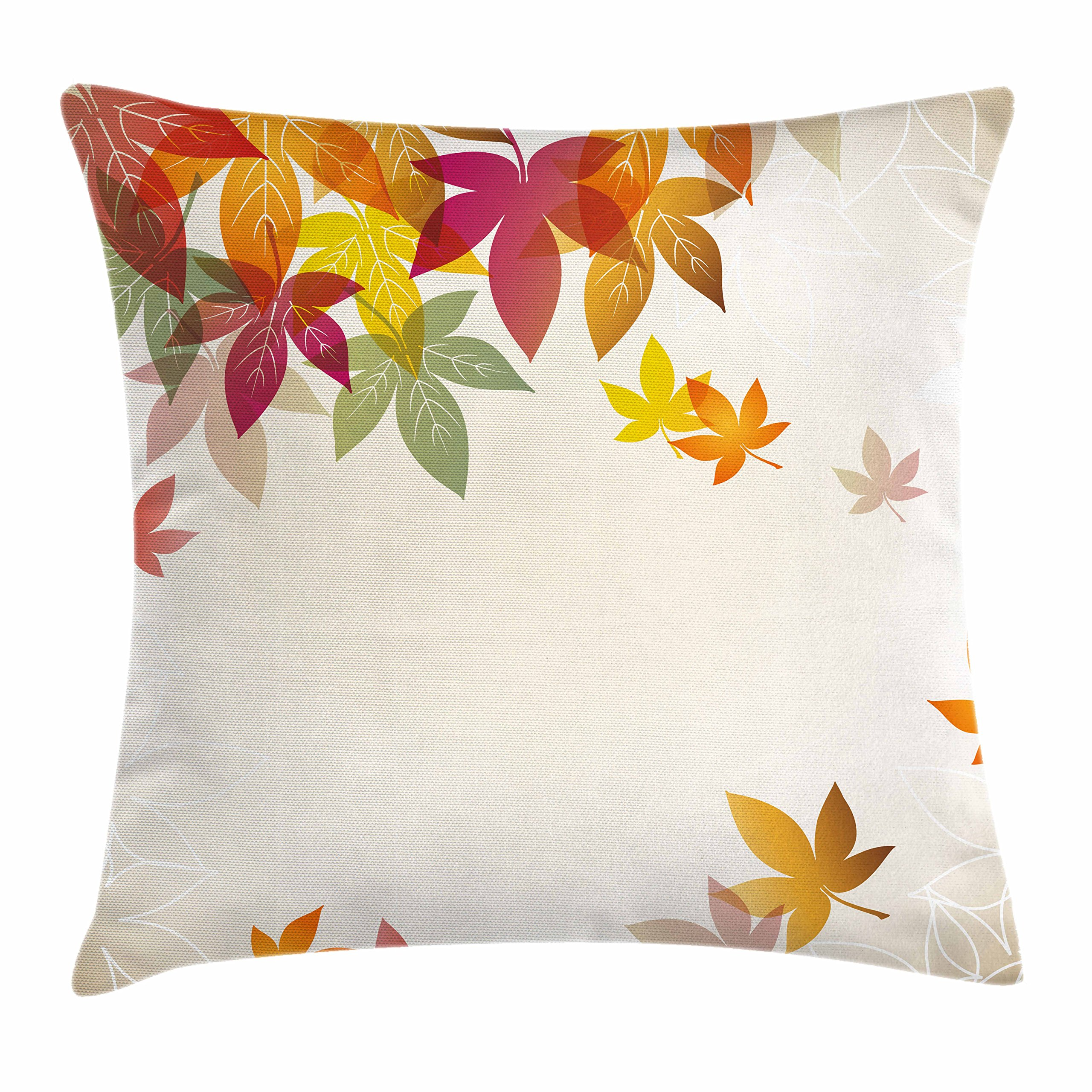 Ambesonne Fall Decorations Throw Pillow Cushion Cover, Silhouettes of Maple Tree Leaves in Pastel Classical Shady Nature Graphic Image, Decorative Square Accent Pillow Case, 20 X 20 Inches, Multi