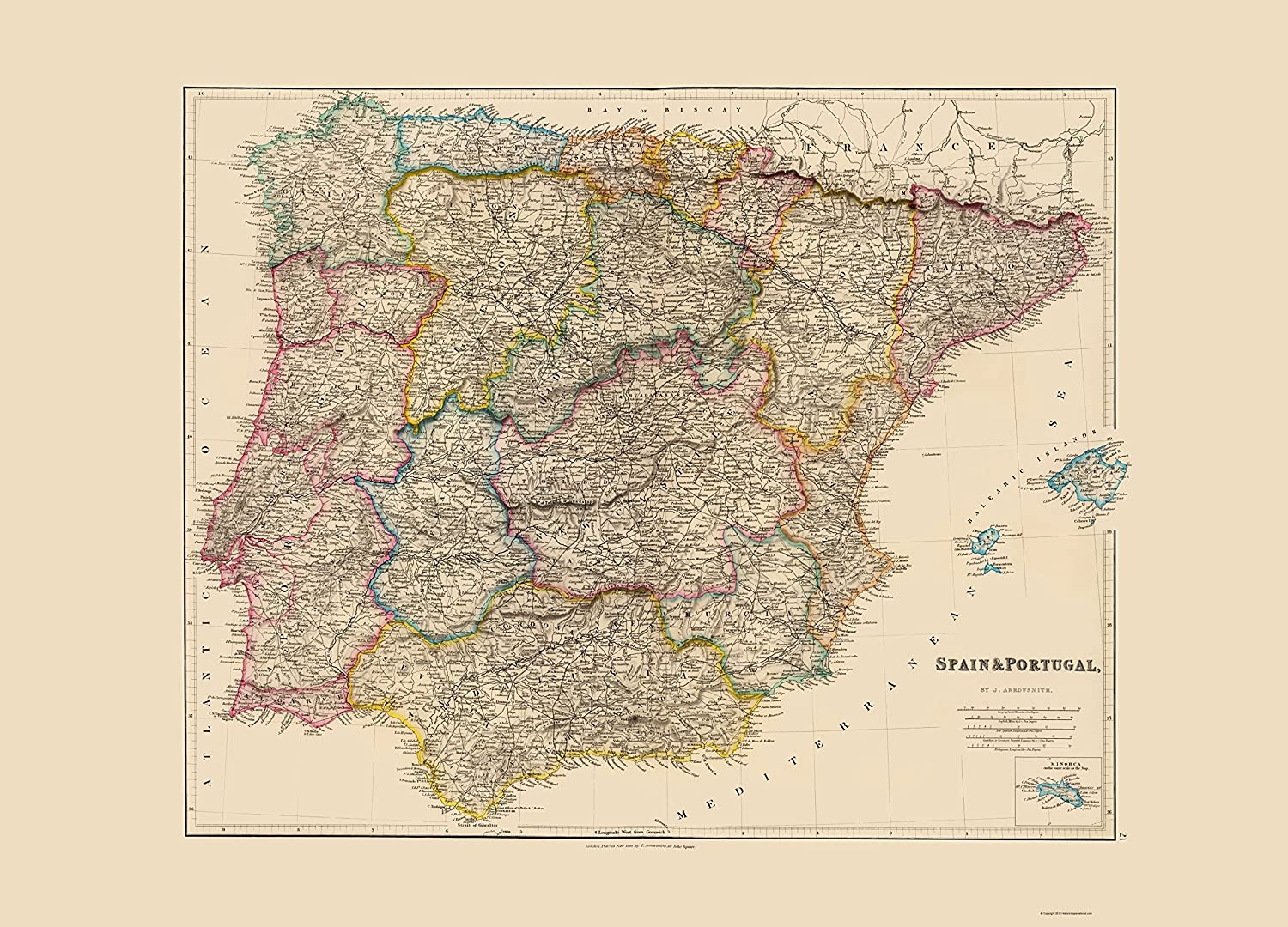 Map Of Spain 1500.Amazon Com Old Iberian Peninsula Map Spain And Portugal