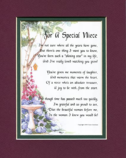 Amazon A Gift Present 18th 21st 30th 40th Birthday Poem For Niece 74 Gifts Posters Prints