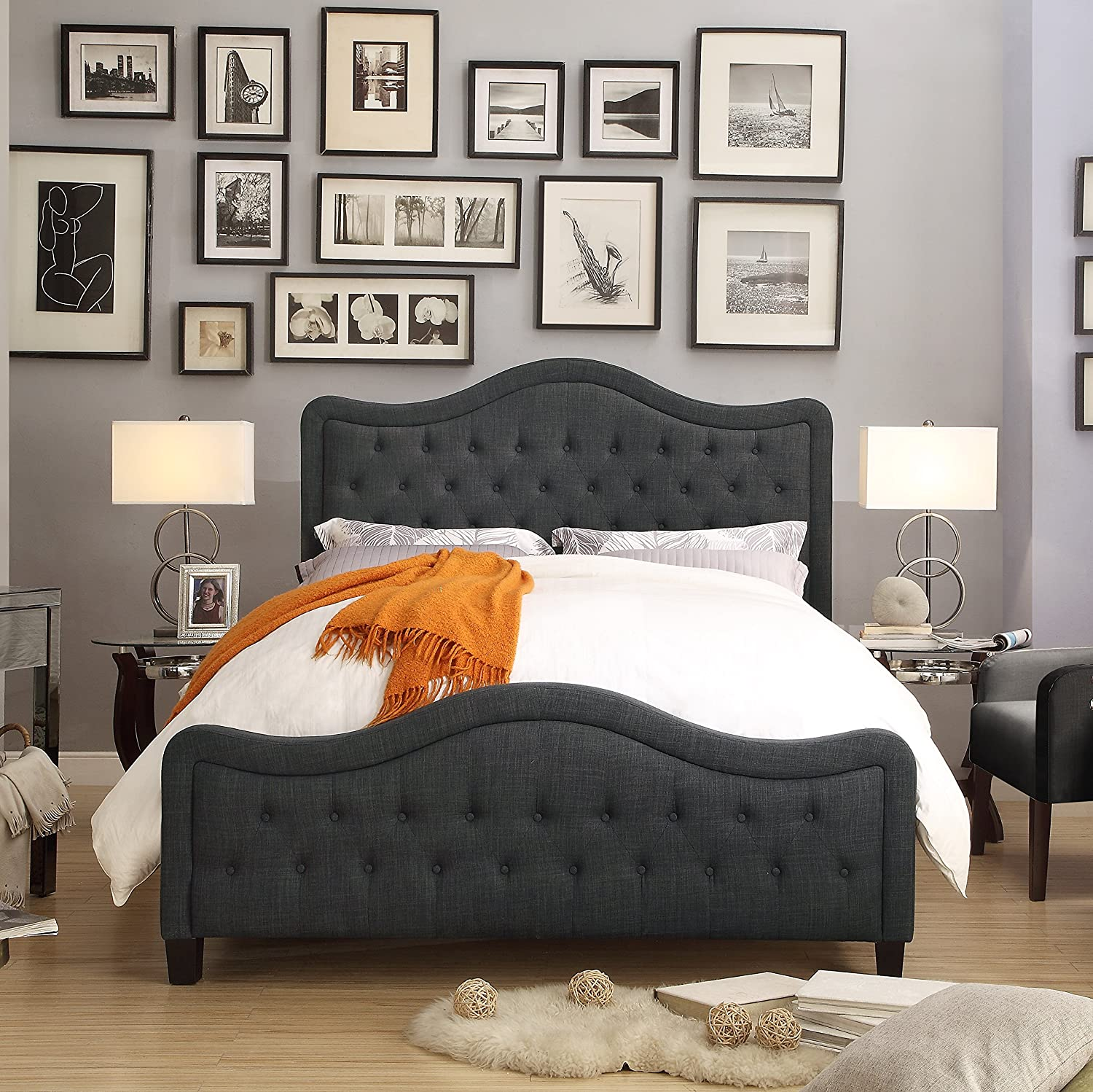 Rosevera Turin Upholstered High-Profile Footboard Panel Bed, Queen, Charcoal, Size
