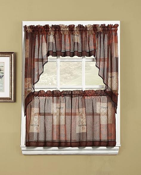 918 Eden Inspirational Theme Kitchen Curtain Swag Pair, 56u0026quot; X 36u0026quot;