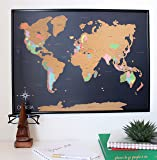 "Scratch Off World Map Poster -with US States Included - Scratchable World Travel Map - 18x24"" Easy to Frame - Perfect Gift for Travelers and Teachers - Designed in Hollywood, CA"