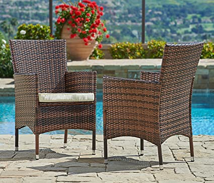 Suncrown Outdoor Furniture Wicker Chairs (2 Piece Set) Thick, Durable  Cushions |