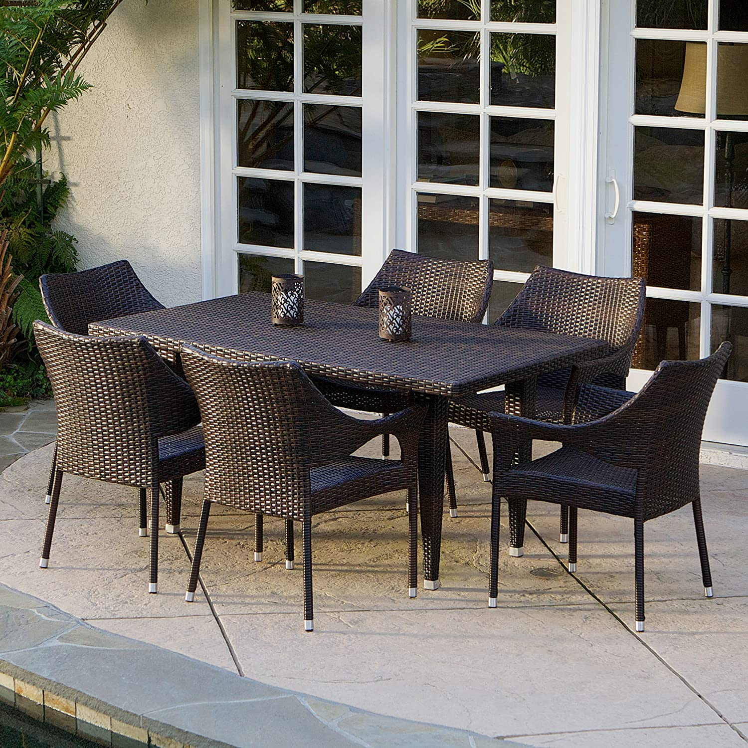 Amazon Stackable Outdoor Chairs - Amazon com 7 piece outdoor wicker dining set with stacking wicker chairs kitchen dining