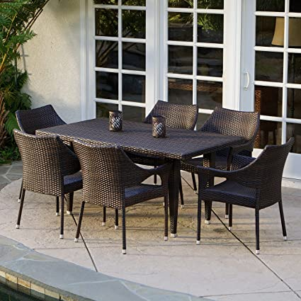 7 Piece Outdoor Wicker Dining Set With Stacking Wicker Chairs