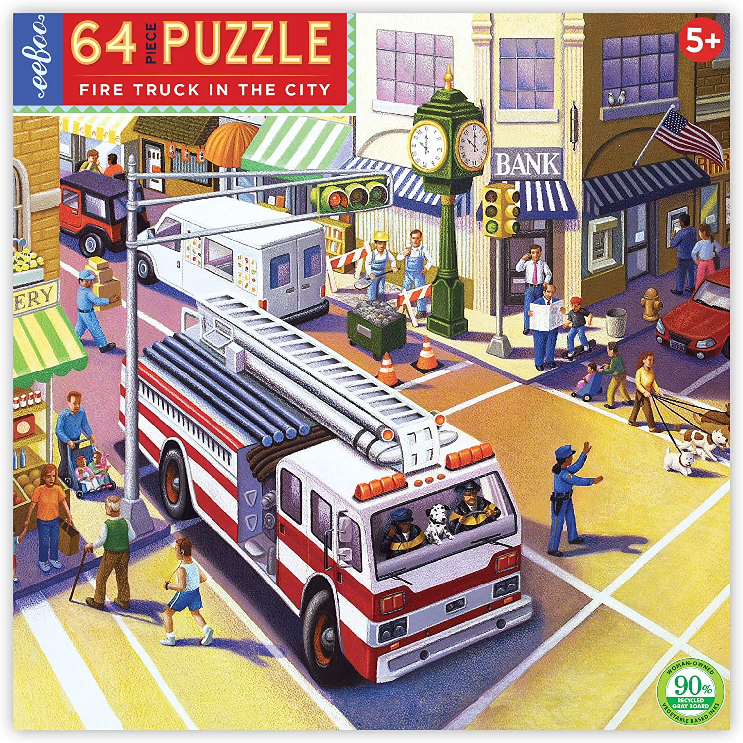 eeBoo Fire Truck in The City Jigsaw Puzzle for Kids Ages 5 Years and Up 64 Pieces