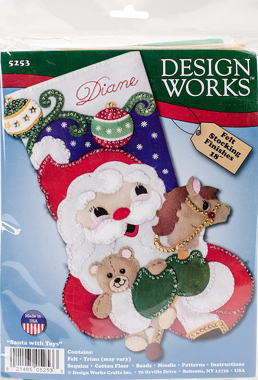 Christmas stocking kit Santa with Toys Design works
