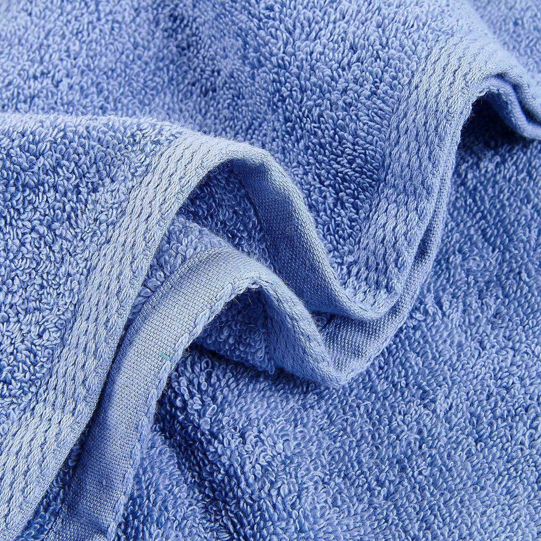 Color Sólido Juego de 3 Toallas de Baño 100% Algodón Absorbencia Rápida 1 Toalla de Baño 1 Toalla de Mano 1 Toalla de Cara Azul: Amazon.es: Hogar
