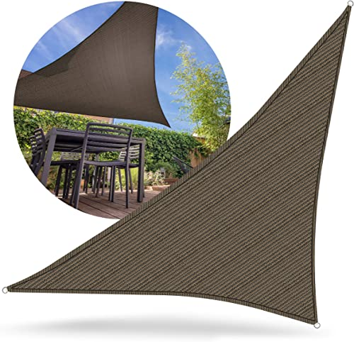 Sharper Image 16 x 16 x 16 Sun Sail Shade, Triangle Awning Cover for Outdoor Patio, Backyard, Deck, Garden, Pergola and More, Canopy D cor Provides Airflow and Protection from Sunlight Exposure