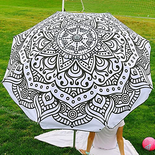 Beach and Grass Umbrella with Matching Travel Carrying Bag – Large 7 Feet 5 Inches Tilting Telescopic Aluminum Pole – Twist Sand Grass Anchor – Wind Air Vent – Fiberglass Ribs Henna Black White