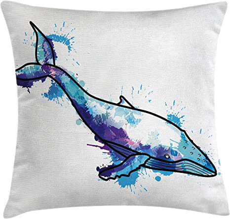 Amazon Com Lunarable Whale Throw Pillow Cushion Cover Humpback Whale With Brushstroke Watercolor Grunge Effects King Of Ocean Picture Decorative Square Accent Pillow Case 26 X 26 Purple Aqua Blue Home Kitchen