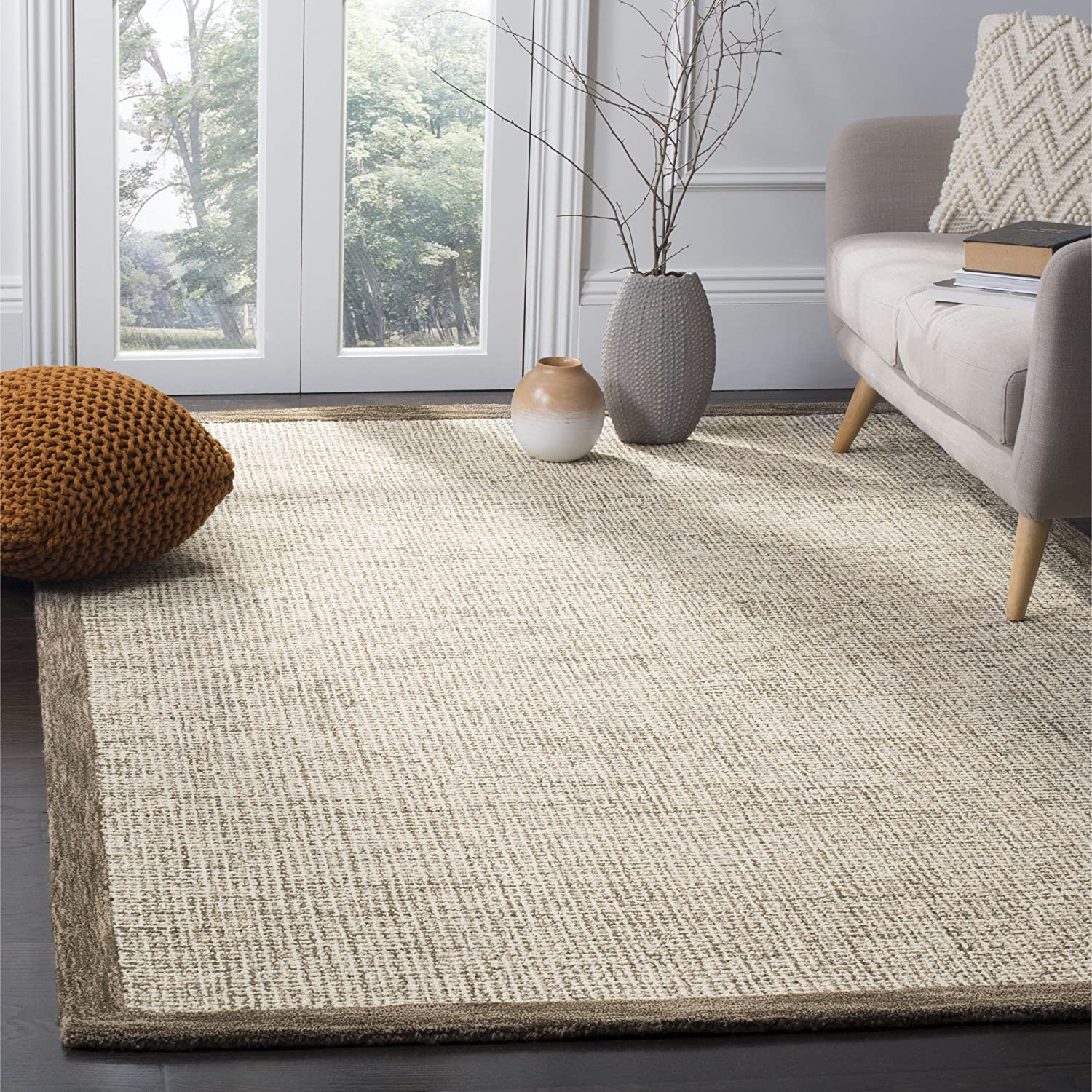 Safavieh Abstract Collection Abt220d Handmade Premium Wool Area Rug 8 X 10 Brown Ivory Furniture Decor