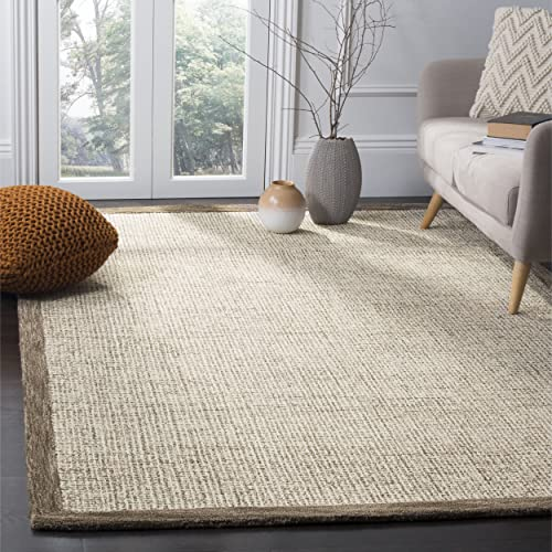 Safavieh Abstract Collection ABT220D Contemporary Handmade Brown and Ivory Premium Wool Area Rug 8' x 10'