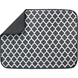 S&T INC. Absorbent, Reversible XL Microfiber Dish Drying Mat for Kitchen, 18 Inch x 24 Inch, Pewter Gray Trellis