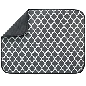 "S&T 449301 Extra Large Dish Drying Mat, 18"" x 24"", Pewter Gray Trellis"
