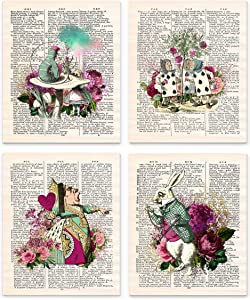 "Alice in Wonderland Wall Art, 8x10"" Set of 4 Un Framed Decor Prints. On Upcycled Vintage Style Dictionary Page. Ideal for Book Lovers and Lewis Carroll Fans"