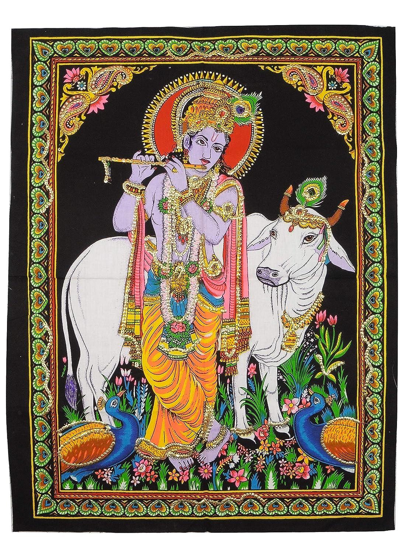 Raffigurante Il Dio ind/ù Krishna con Mucca Commercio Equo e Solidale Pilgrims 56 x 74 cm Immagine in Cotone con Lustrini