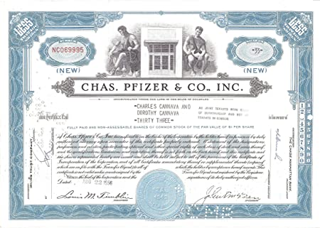 100 Shares About Unicrculated 1950s-60s FREE SHIPPING of 2ND COLOR 1960 ORIGINAL VINTAGE PFIZER STOCK CERTIFICATE