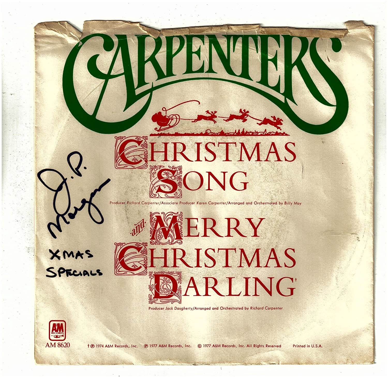 THE CARPENTERS - CARPENTERS, THE / Christmas Song bw Merry Christmas ...
