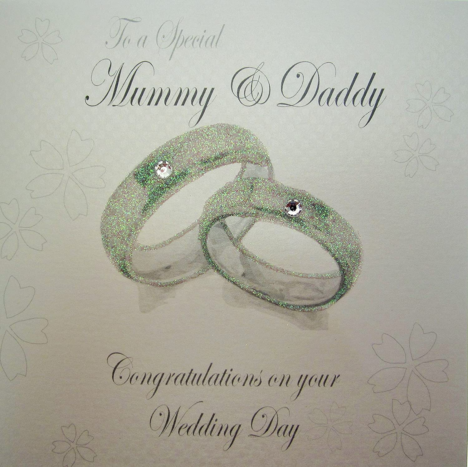 White Cotton Cards Wedding Day Handmade Card To A Special Mummy And Daddy
