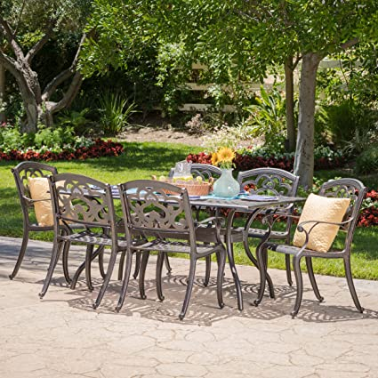 Beau Augusta | 7 Piece Cast Aluminum Outdoor Dining Set | Perfect For Patio | In  Shiny