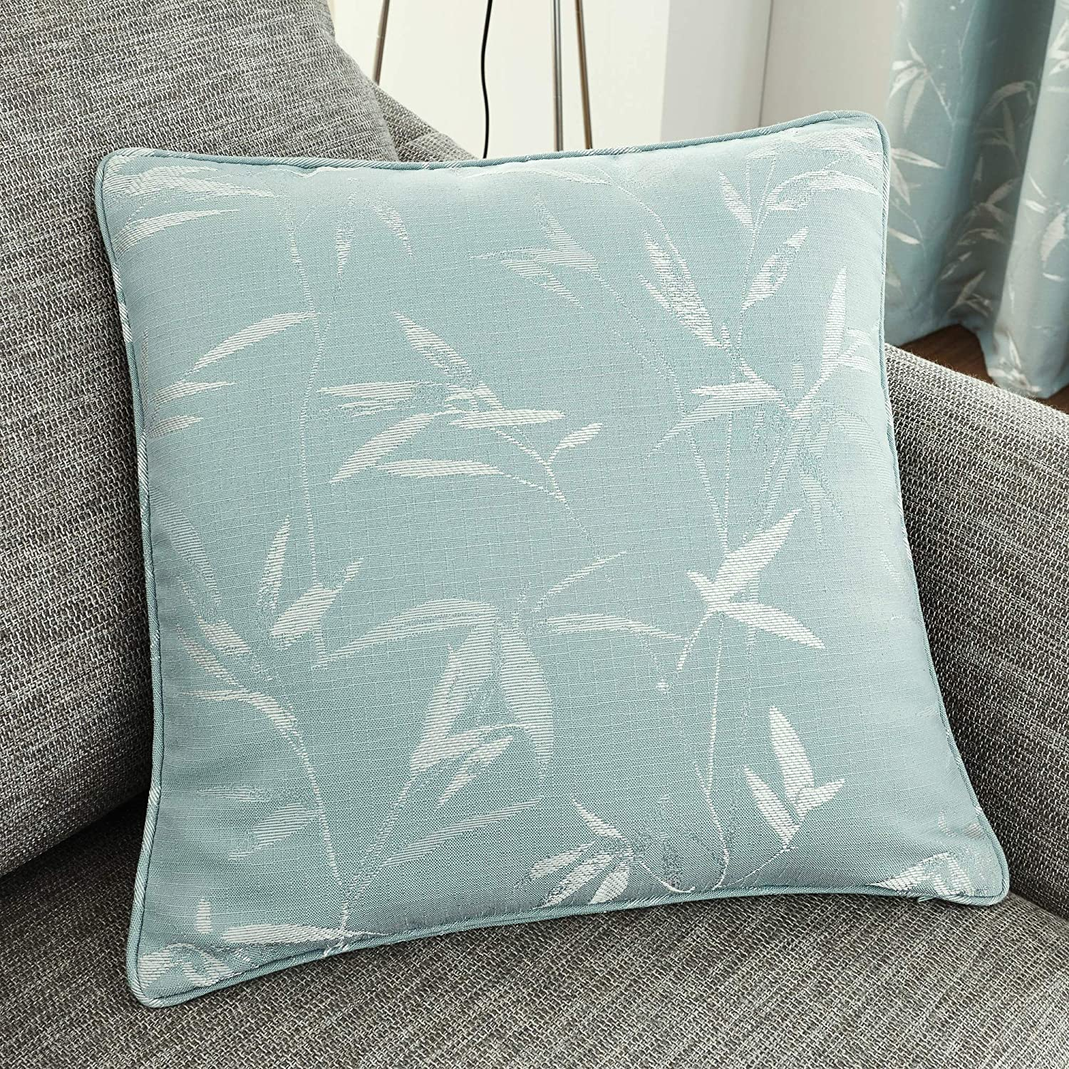 "Catherine Lansfield 18/"" x 18/"" Jacquard Leaf Cushion Covers Piped Edging FREE P/&P"