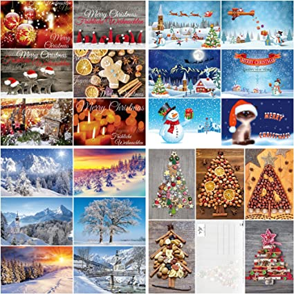Caja con 100 tarjetas de Navidad