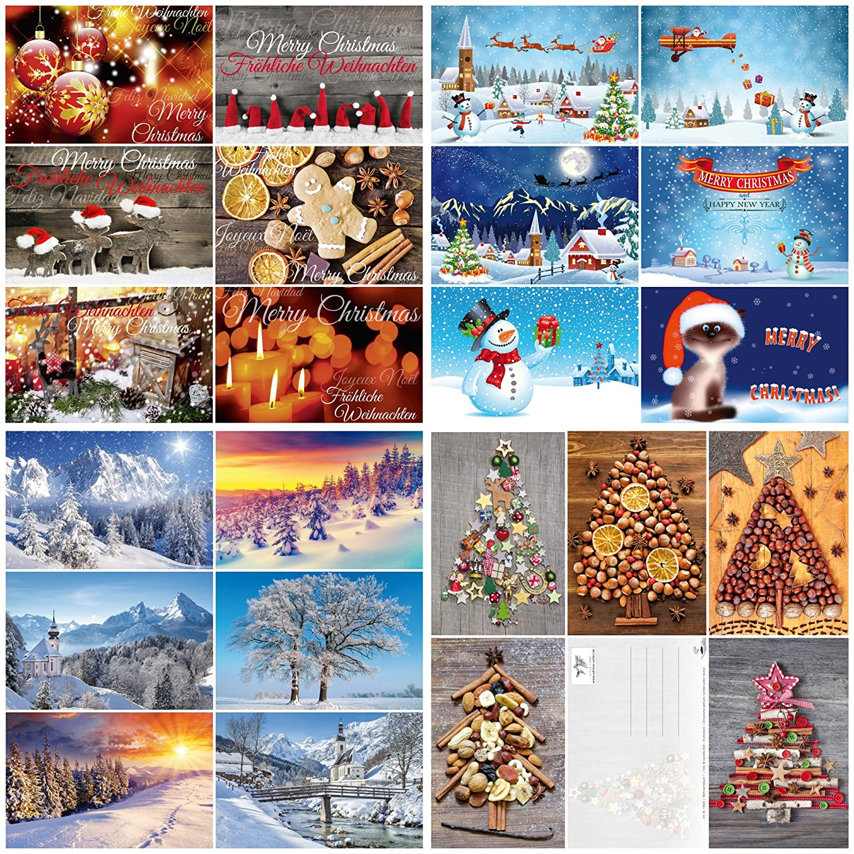 'Scatola da 100biglietti di Natale Natale von Edition Colibri: set di cartoline con un colorato Mix AN biglietti di Natale con 25diversi motivi á 4St. in un' elegante confezione (10642–10831)