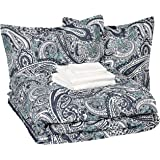 AmazonBasics Bed-in-a-Bag - Soft, Easy-Wash Microfiber - 8-Piece Full/Queen, Blue Paisley