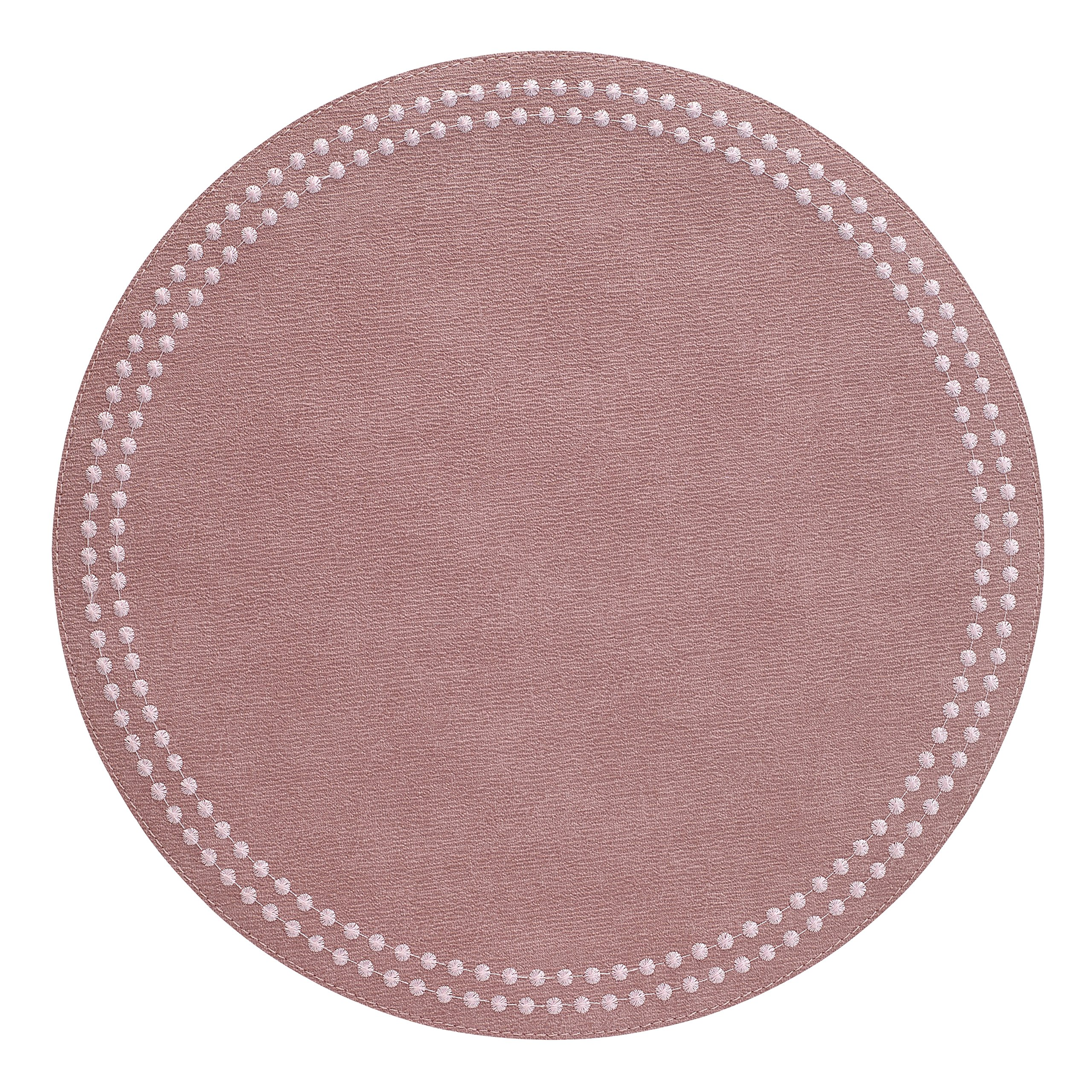 Bodrum Pearls Mauve Rose (Set of 6) Easy Care Round Placemats 15'' (38.1cm)