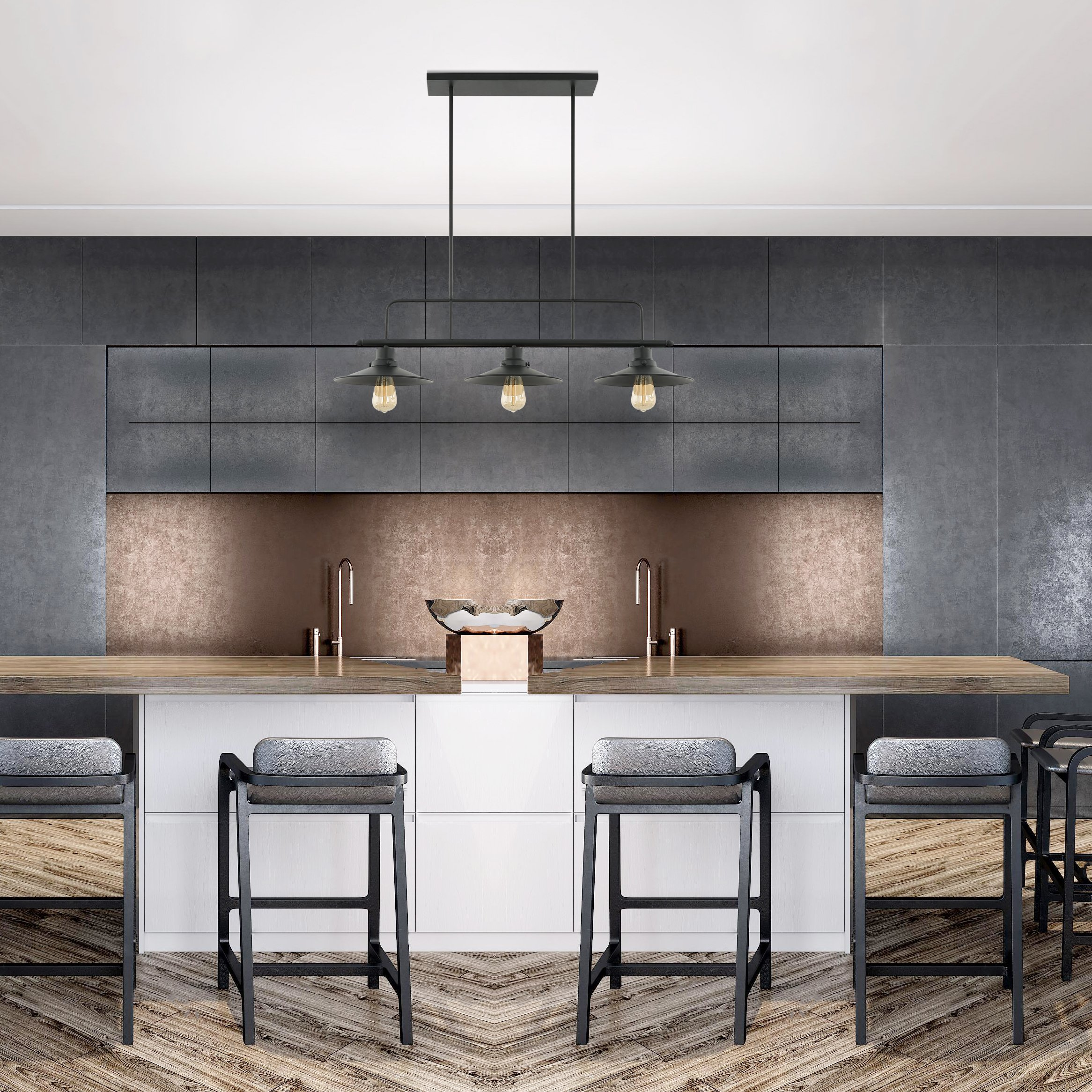 Light Society Margaux 3-Light Kitchen Island Pendant, Matte Black, Vintage Modern Industrial Chandelier (LS-C114) by Light Society (Image #4)