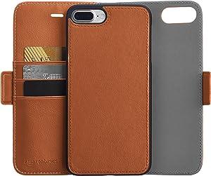 AmazonBasics iPhone 8 Plus / 7 Plus PU Leather Wallet Detachable Case, Brown