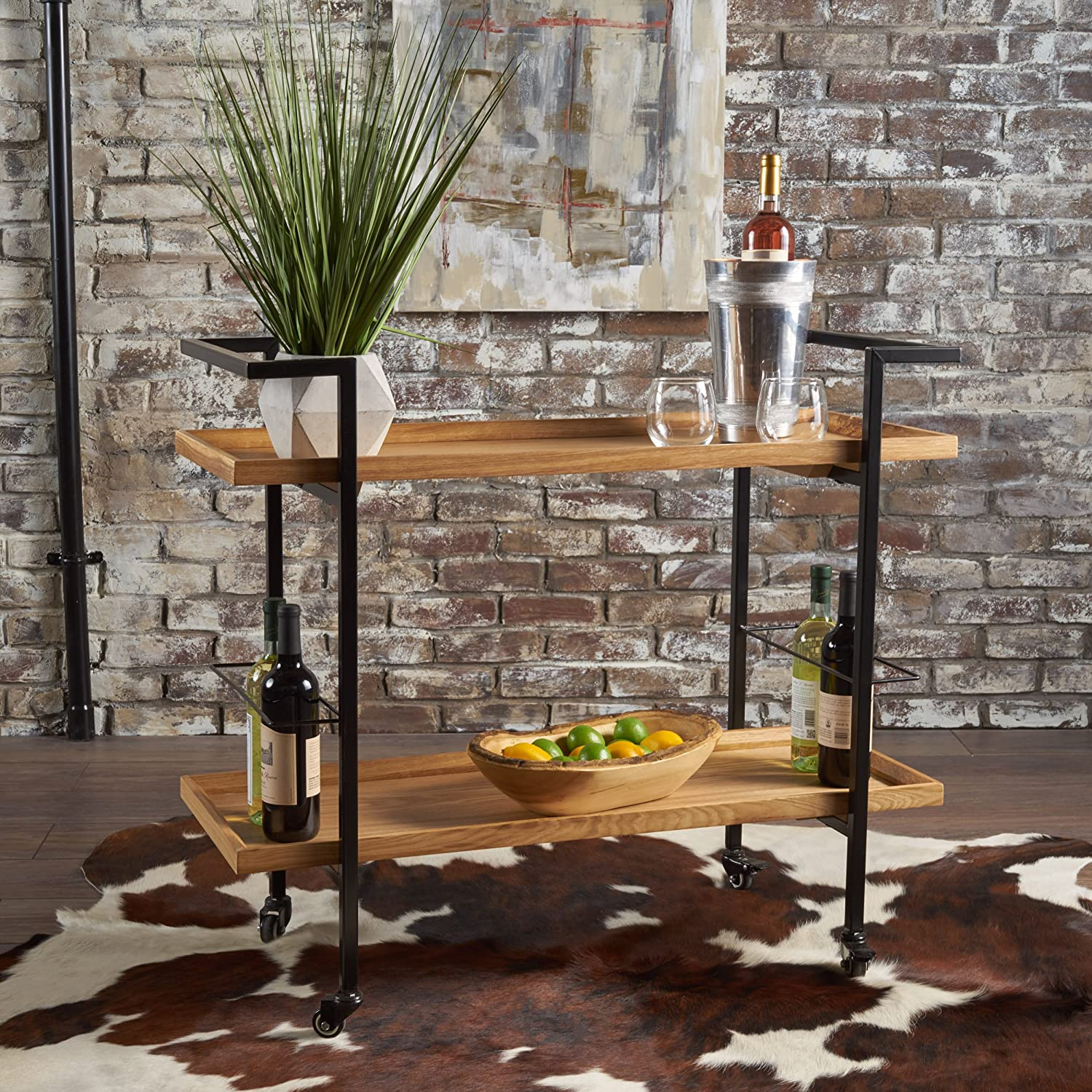 Gerard Industrial Natural Finished Wooden Bar Cart GDF Studio