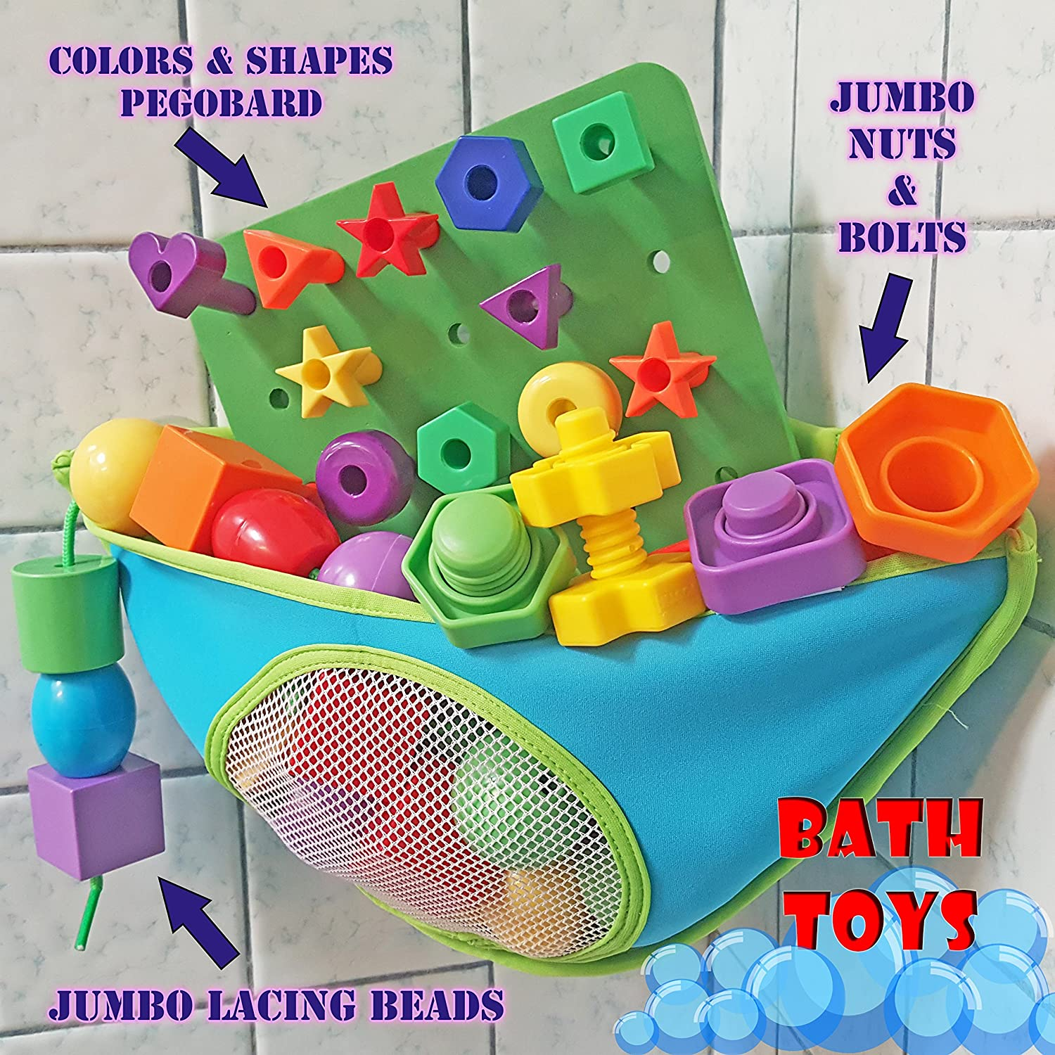 Amazon.com: Basic Shapes and Colors Toddler Pegboard Set with ...