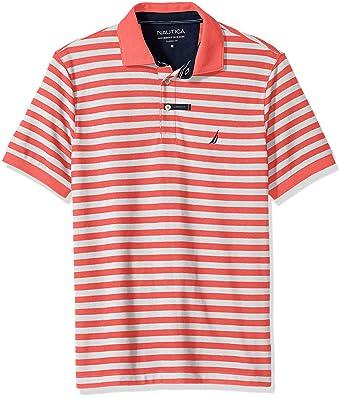 Nautica Hombres Manga Corta Camisa Polo - Anaranjado -: Amazon.es ...