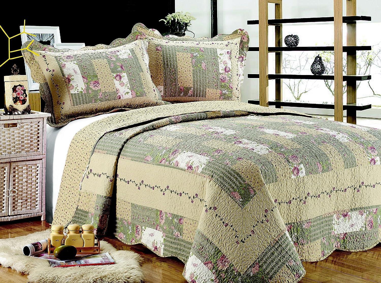 Quilt Set-beige, pink, burgundy and sage green prints