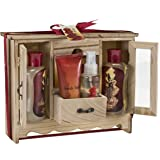 Bath and Body Spa Gift Set in French Vanilla Aromatherapy Fragrance by Freida and Joe, Includes a Shower Gel, Bubble Bath, Bath Salt, Body Lotion, and Body Spray in a Natural Wood Curio