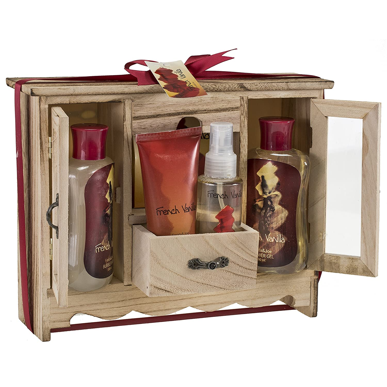 French Vanilla Bath and Body Essential Aromatherapy Spa Bath Gift Set in Natural Wood Curio, Vanilla Shower Gel,Bubble Bath, Bath Salt, Body Lotion, Body Spray, Luxury Womens Spa Gift Se