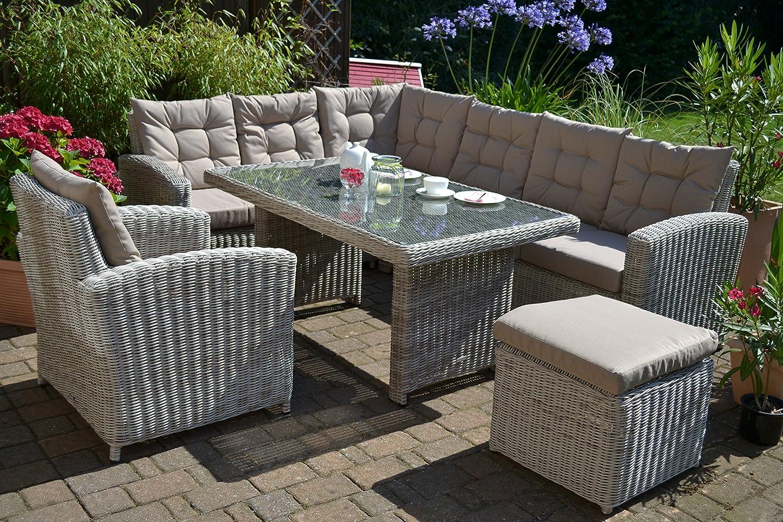 Ecklounge Manhattan (Ecksofa + Tisch + Sessel + Hocker) großes Rattan Gartensofa Lounge Polyrattan sand grau natur für 8 Personen