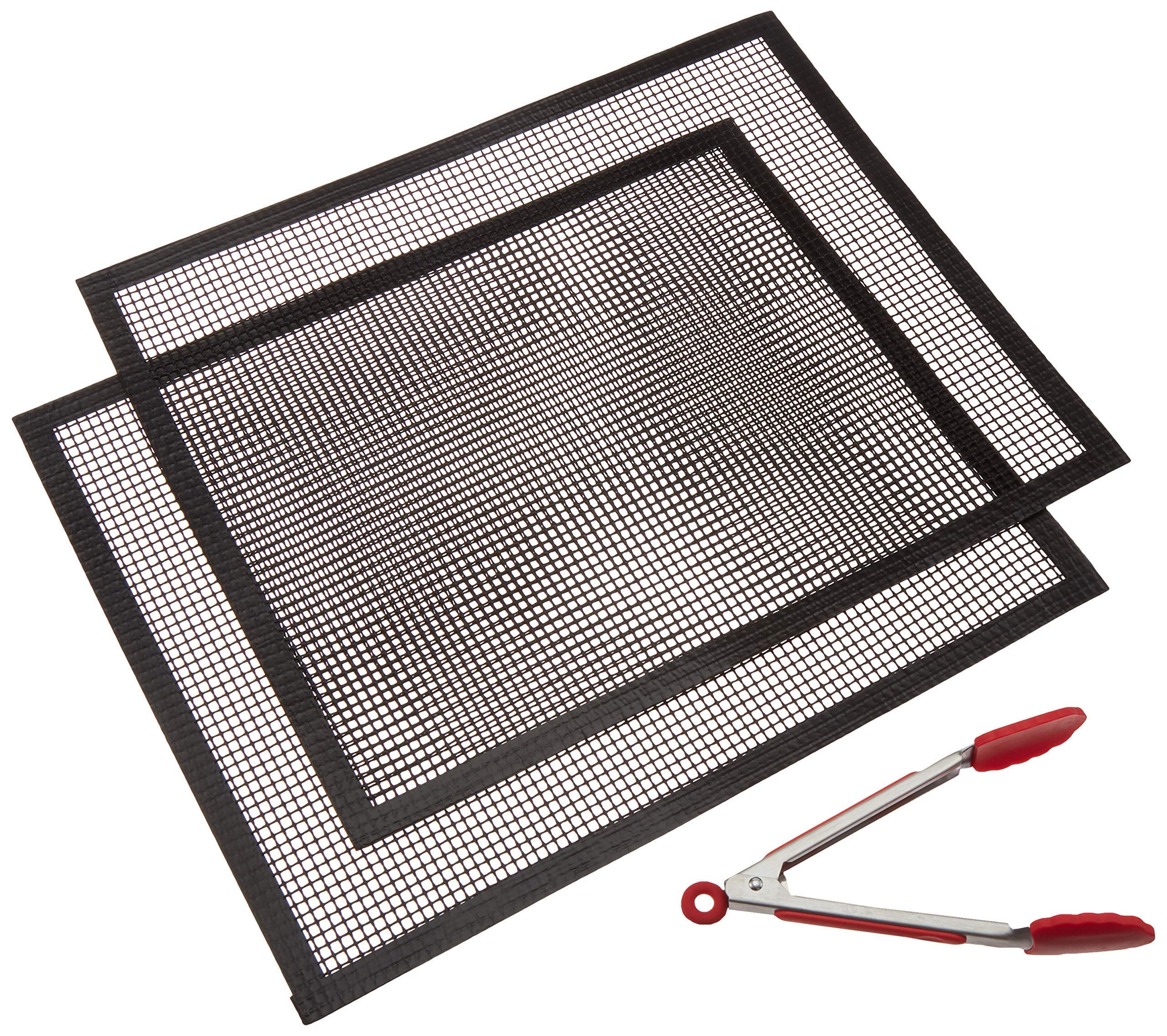 Morton Applied Products Exclusive Mesh BBQ Grill Mat 2 Pack Plus Free Serving Tong, Non Stick Barbecue Grill Mesh Liners, Grill Mat, BBQ Grill Mat, Grill Topper by Morton Applied Products