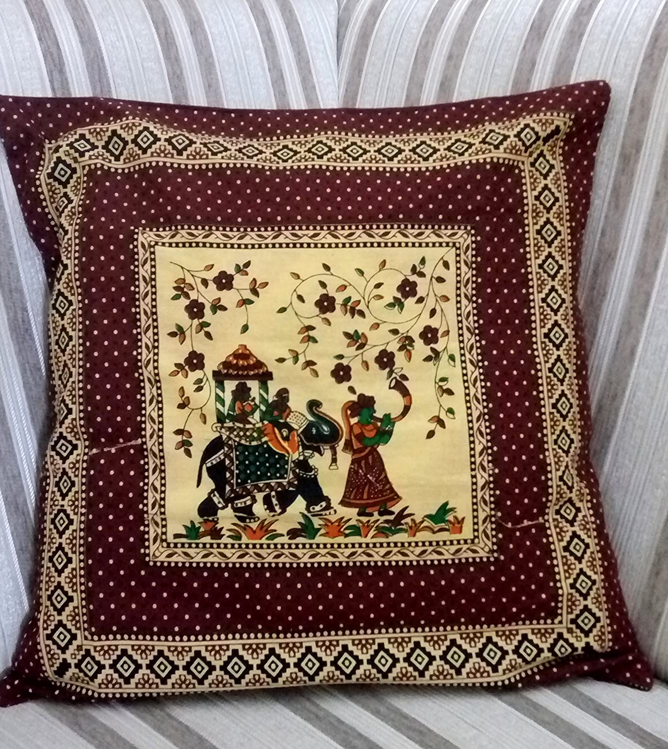 Cushion Cover Size 16x16 Inches King Sitting Over The Elephant Griiham Brown Rajasthani Palace Print Traditional Indian Print 40 x40 Cm With Flaps