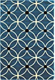 Linon Claremont Collection Cylinder Black Synthetic Rugs, 5' x7' , Blue