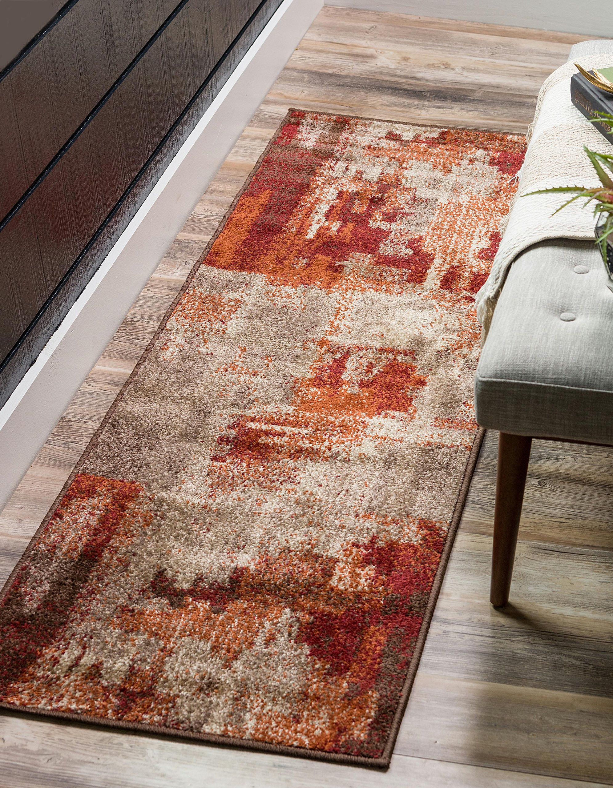 Unique Loom Autumn Collection Rustic Casual Warm Toned Abstract Multi Runner Rug (3' x 10')