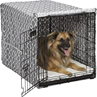 MidWest Homes for Pets Dog Crate Cover | Black Polyester Crate Cover Stylish Geometric Pattern Crate Covers
