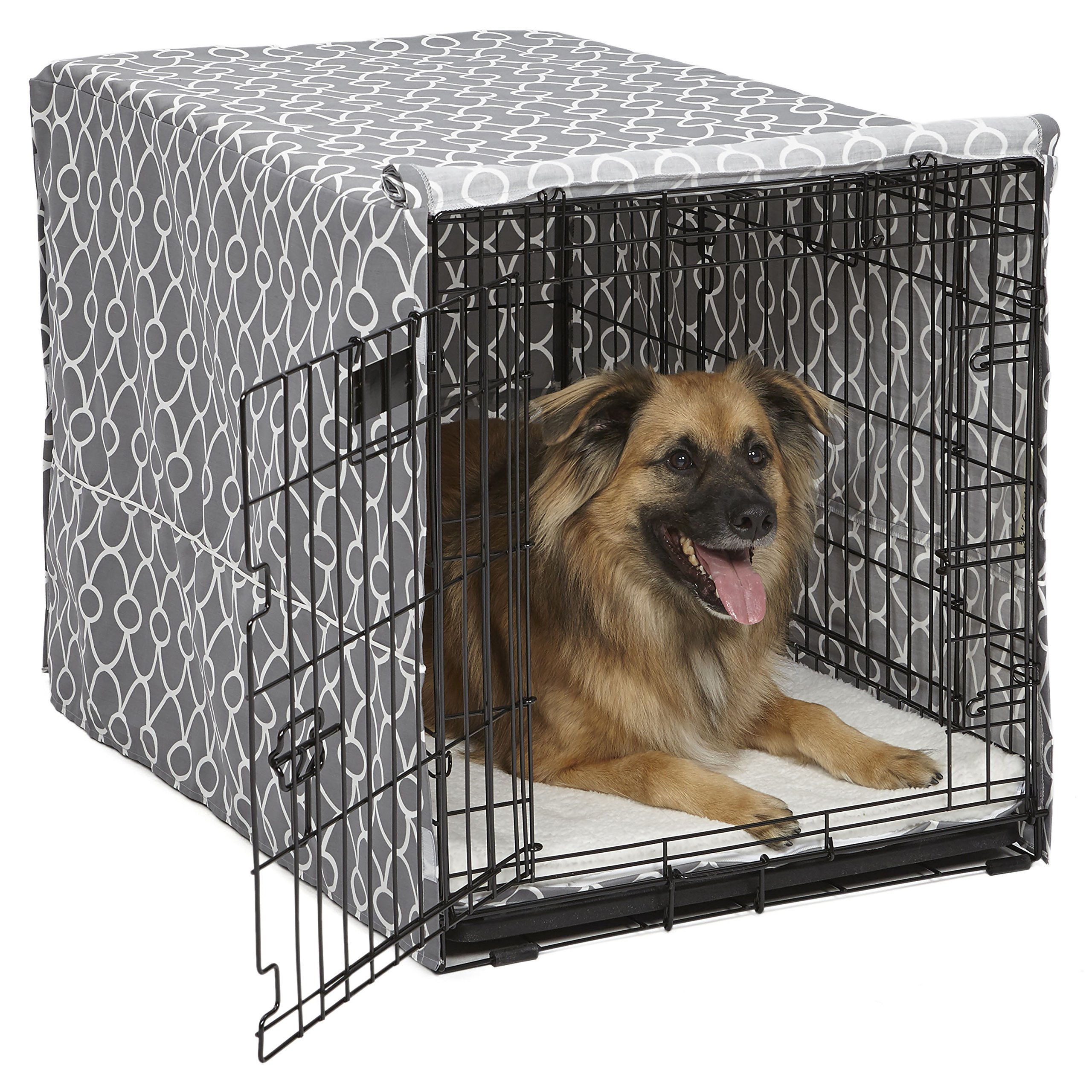 Midwest Homes for Pets Dog Crate Cover, Gray Geometric Pattern, 36-Inch by MidWest Homes for Pets