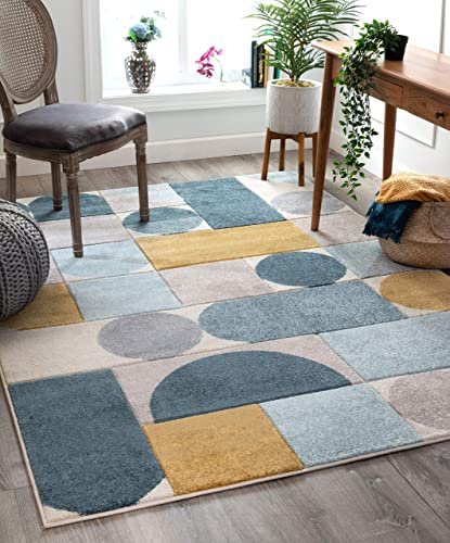Well Woven Dion Blue Modern Geometric Boxes Circles Pattern Area Rug 4×6 3 11 x 5 3