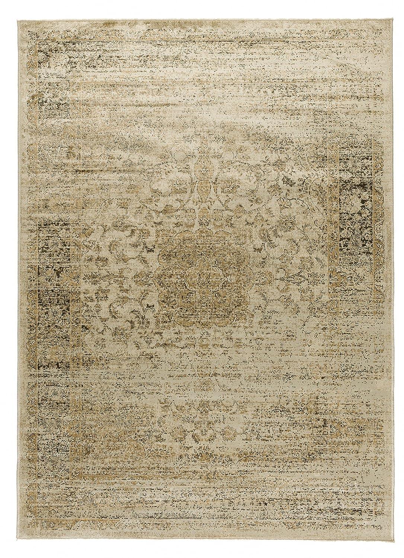 VIVA 18109 Teppich Vintage Nogent in braun, Synthetikfaser, elfenbein, 230 x 160 x 0.4 cm